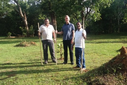 Channa, John and Pathi at Ahaspokuna Bush Walks Camp, Belihuloya, Sri Lanka