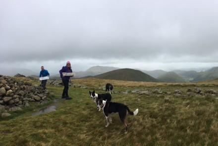 John, Sue, Maya, Arwen, Tarzan & Tracey (taking photo) claiming The Knott (High Street) for 'Another Waynwright Day', Lake District, UK