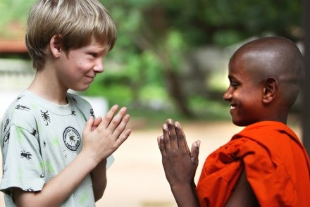 A meeting of cultures – the visitor and the monk, Sri Lanka
