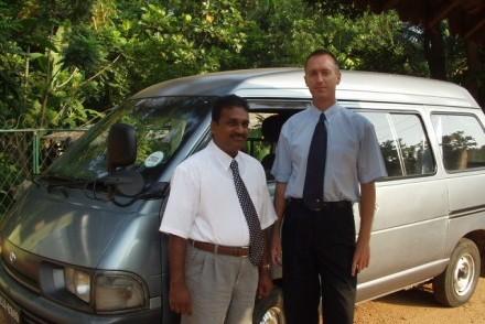 Pathi, John and 'van' (minibus), JB Pathi Tours, April 2003, Sri Lanka