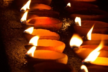 Votive candles at a puja (blessing ceremony) in Sri Lanka