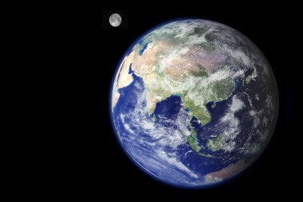 Earth and Moon taken from space, with Sri Lanka clearly visible (courtesy of NASA ESA)