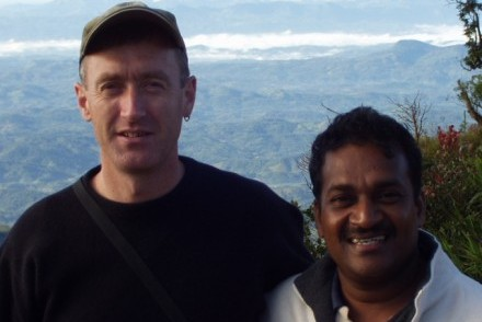 John & Pathi in the early days, World's End, Horton Plains, Sri Lanka