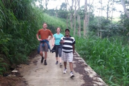 Pathi walking with guests, Hanthana House, Kandy, Sri Lanka