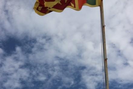 Sri Lanka flag aflutter