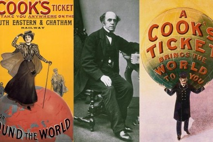 A portrait of Thomas Cook, circa 1850, and early tickets (courtesy of The Guardian/Getty Images/Alamy)