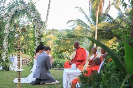 Traditional wedding blessing in Sri Lanka
