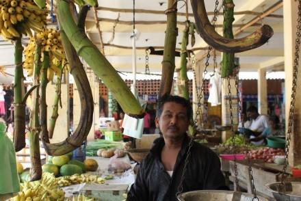 Banana seller, Batticaloa market, Sri Lanka