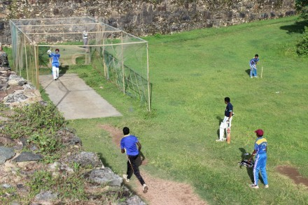 Cricket net practice within the fort ramparts, Galle, Sri Lanka