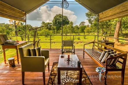 View from suite living area, Ahaspokuna Bush Walks Camp, Belihuloya, Sri Lanka