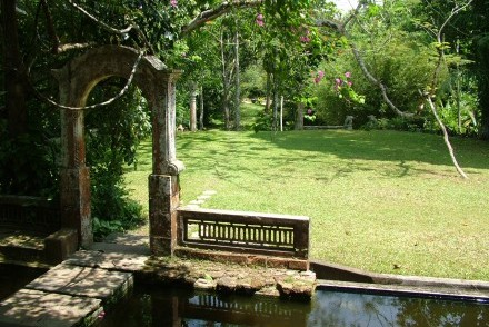 View of garden from bungalow, Apa Villa Illuketia, Galle, Sri Lanka