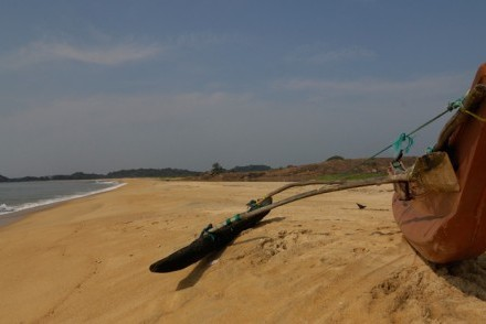 Catamaran on a deserted beach, Arugam Bay, Sri Lanka