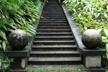 Ornamental garden staircase, Brief Garden, Bentota, Sri Lanka