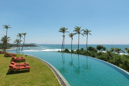 View from the infinity pool at Cape Weligama, Weligama, Sri Lanka