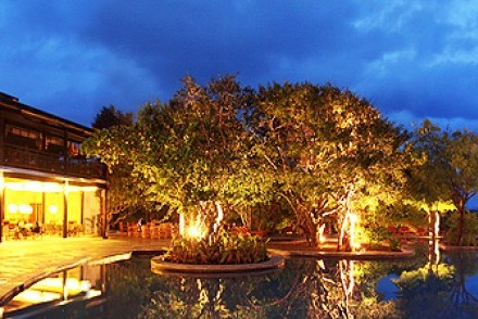 Pool, restaurant and reception at night, Cinnamon Wild, Yala, Sri Lanka