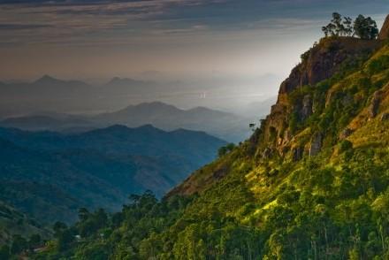 Ella Rock (right) and views south towards the coast through Ella Gap, Sri Lanka