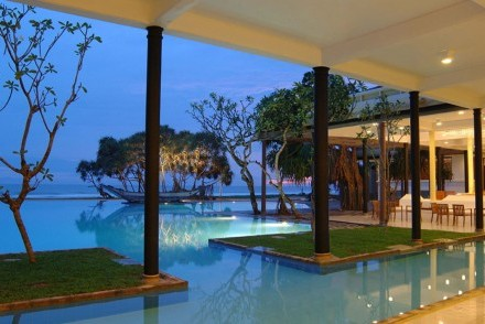 View of pool and beach, Heritance Ahungalla, Ahungalla, Sri Lanka