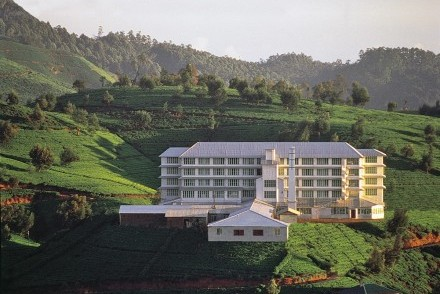 Hotel and surrounding tea estate, Heritance Tea Factory, Nuwara Eliya, Sri Lanka