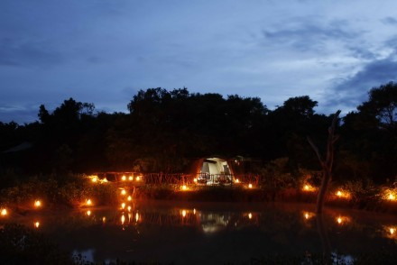 Campsite at night, Noel Rodrigo's Leopard Safaris, Sri Lanka