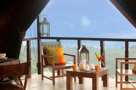 View from Deluxe Lodge veranda, Madulkelle Tea & Eco Lodge, Knuckles, Sri Lanka