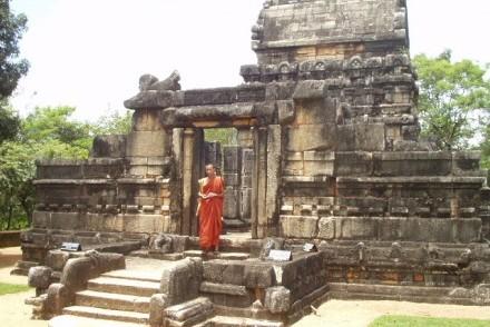 Monk at Nalanda Gedige, Sri Lanka