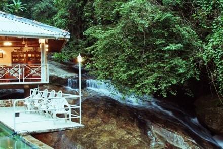 Restaurant, pool and waterfall, Royal River Resort, Kitulgala, Sri Lanka