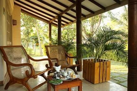 Garden chalet veranda, The Tamarind Tree Hotel, Minuwangoda, Sri Lanka