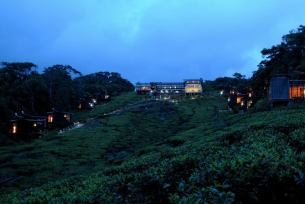 Ecolodge and eco chalets at night, The Rainforest Ecolodge, Sinharaja, Sri Lanka