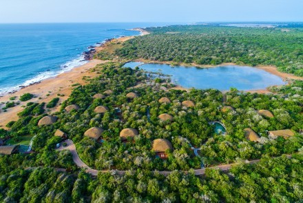 Spectacular drone photo of Uga Chena Huts, Yala, Sri Lanka