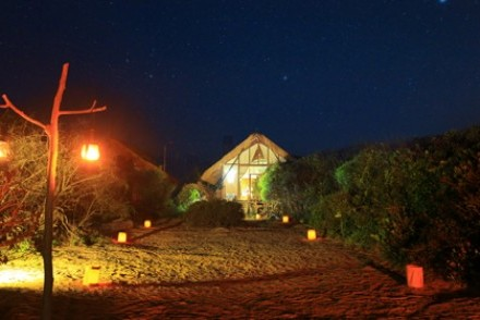 Beach Cabin at night, Uga Jungle Beach, Nilaveli, Sri Lanka