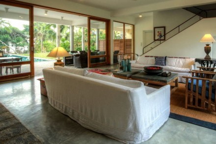 Lounge view to pool and garden, Villa Saffron, Hikkaduwa, Sri Lanka