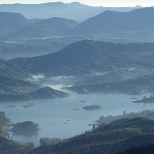 Surreal view of Castlereagh Reservoir from Adam's Peak, Sri Lanka