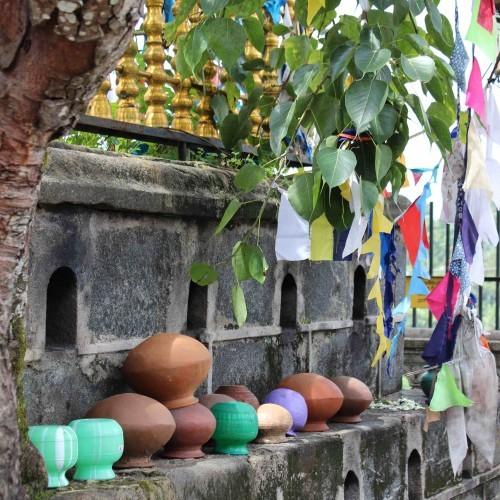 Pots and bunting at a temple, Sri Lanka