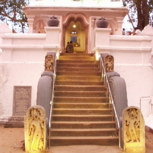 Staircase to Sri Maha Bodhi, the sacred Bo tree, Anuradhapura, Cultural Triangle, Sri Lanka