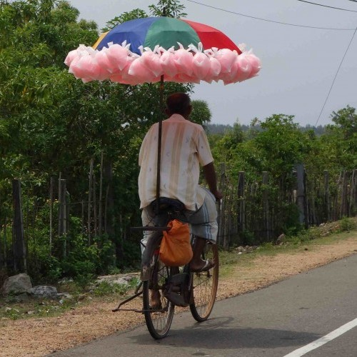 Candyfloss seller on a bicycle, East Coast, Sri Lanka