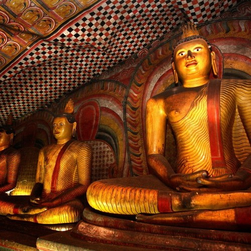 Sitting Buddhas at Dambulla cave temples, Sri Lanka