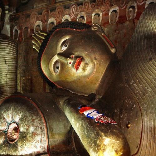 Reclining Buddha at Dambulla cave temples, Sri Lanka