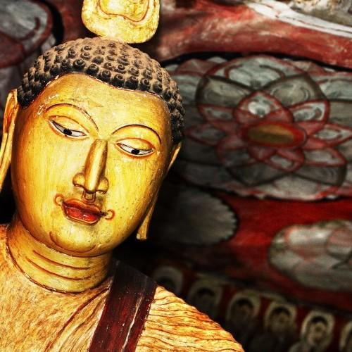 Enigmatic Buddha at Dambulla cave temples, Sri Lanka