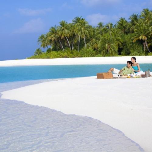 Desert island castaway lunch for honeymooners in Maldives