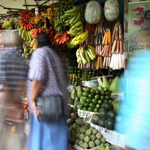 Busy market stalls, Kandy, Sri Lanka