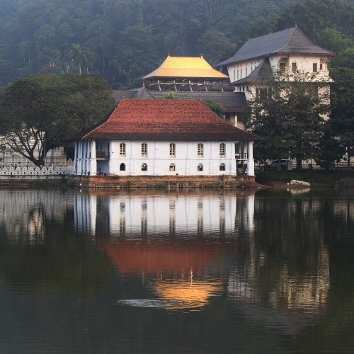 Golden-roofed Temple of the Tooth reflecting in Kandy Lake, Sri Lanka