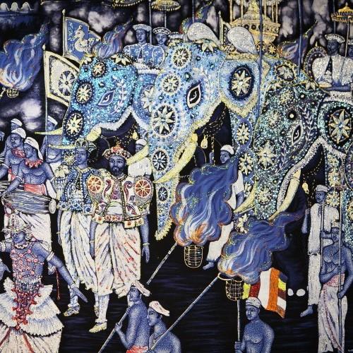 Batik mural of Esala Perahera, Kandy, Sri Lanka