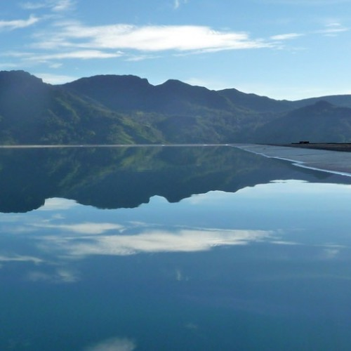 Knuckles Mountain Range and reflection in pool, Madulkelle Tea & Eco Lodge, Knuckles, Sri Lanka