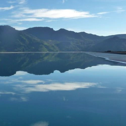 Knuckles Mountain Range and reflection in pool, Madulkelle Tea & Eco Lodge, Knuckles, Sri Lanka