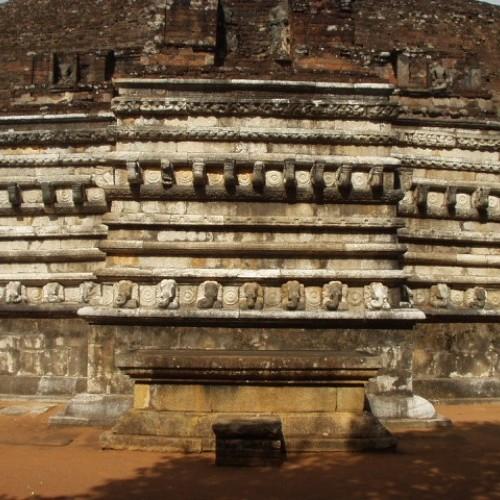 'Vahalkada' and elephant stone flower altar, Kantaka Chetiya, Mihintale, Sri Lanka