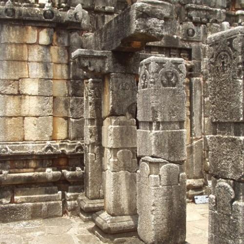 Decorated stone pillars, Nalanda Gedige, Sri Lanka