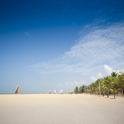 Beaches and resort hotels are close to the airport at Negombo, Sri Lanka