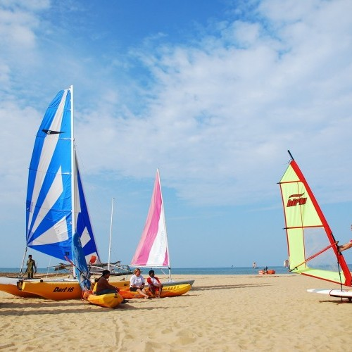 Windsurfing is a popular water sport at Jetwing Beach, Negombo, Sri Lanka