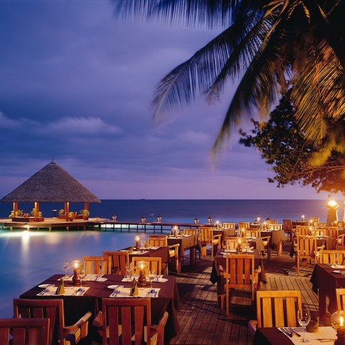 Pier and restaurant at night, Angsana Ihuru, Maldives