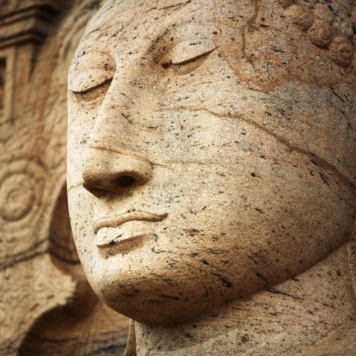 The face of the Buddha in Samadhi at Gal Vihara, Polonnaruwa, Sri Lanka